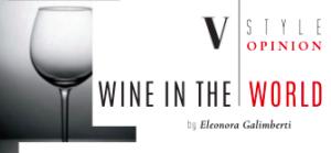 Bicchiere di vino e scritta wine in the world